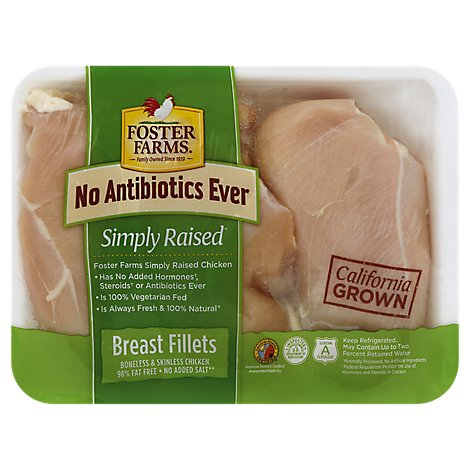 Foster Farms Chicken Breast Fillets Boneless Skinless - 2.00 LB