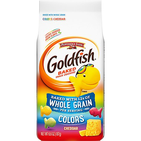 Pepperidge Farm Goldfish Crackers Baked Snack Whole Grain Cheddar Colors - 6.6 Oz