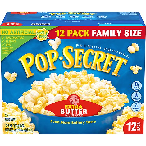 Pop Secret Microwave Popcorn Premium Extra Butter Pop-and-Serve-Bags Bonus Pack - 12-3.2 Oz