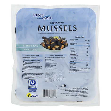 Mussels Cooked Frozen Farm Raised - Lb