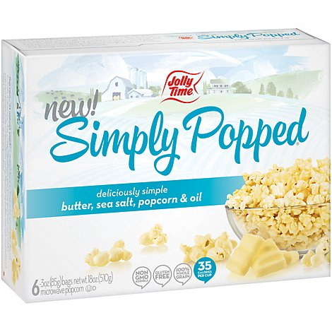 Jolly Time Microwave Popcorn Simply Popped - 6 count