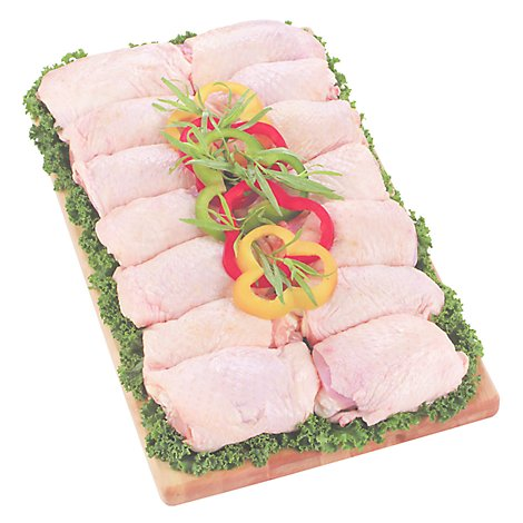 Meat Counter Chicken Thighs Bone In Previously Frozen T/P Service Case - 1.00 LB