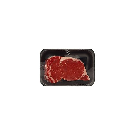 Meat Counter Beef USDA Choice Ribeye Steak Bone In Service Case - 3 LB
