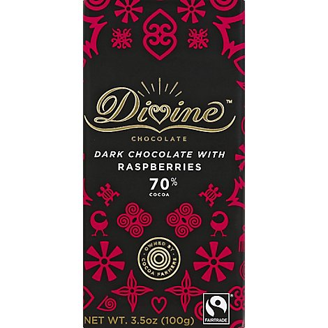 Divine Chocolate Bar Dark With Raspberry - Each