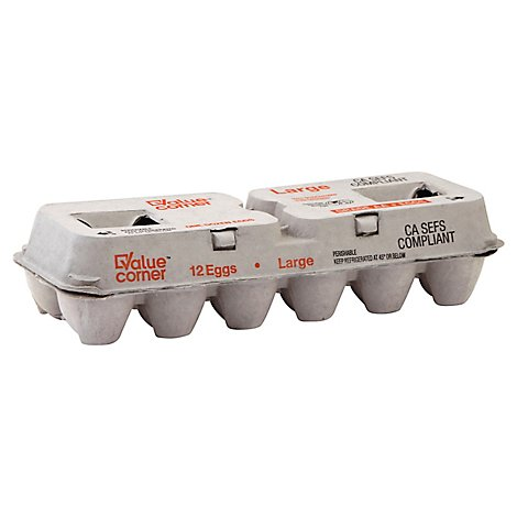 Value Corner Large Shell Eggs - 12 Count