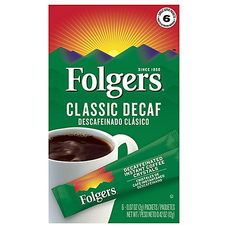 Folgers Coffee Instant Classic Decaf - 6-0.07 Oz