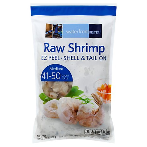 waterfront BISTRO Shrimp Raw Ez Peel Shell & Tail On Medium 41 To 50 Count - 32 Oz