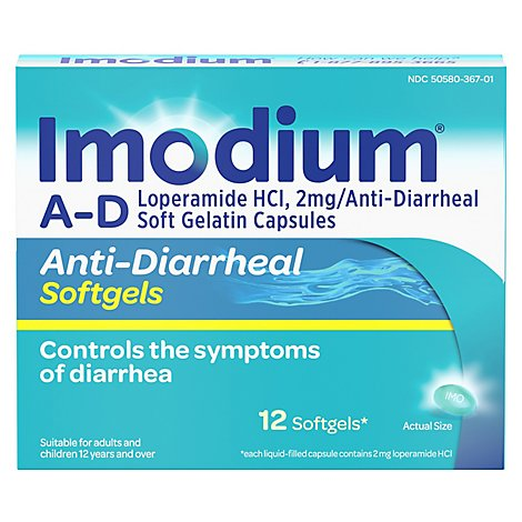 Imodium Anti-Diarrheal Softgels - 12 Count