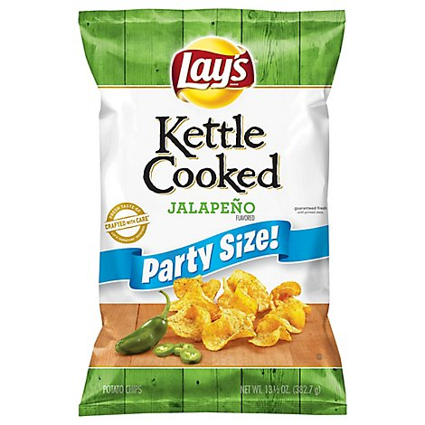 Lays Potato Chips Kettle Cooked Jalapeno Party Size! - 13.5 Oz