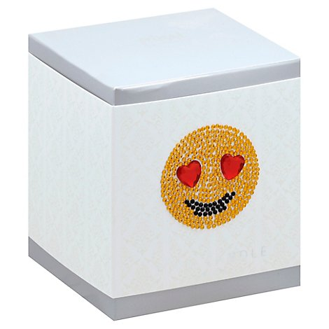 Emoji Icon Candle Smiling Face With Heart Shaped Eyes - 9.5 Oz