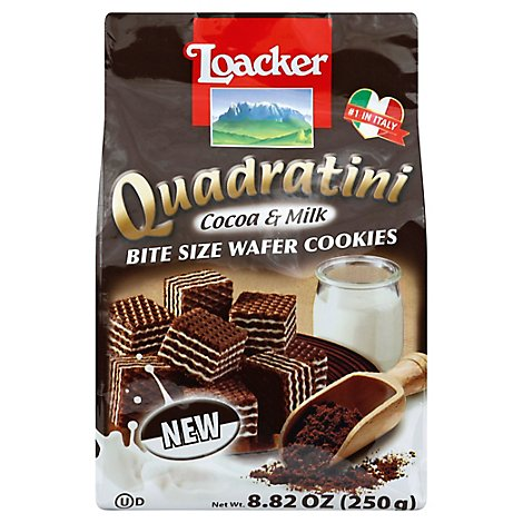 Loacker Quadratini Cocoa & Milk - 8.82 Oz