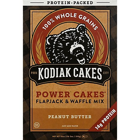 Kodiak Cakes Flapjack and Waffle Mix Power Cakes Crunchy Peanut Butter Protein Packed - 18 Oz