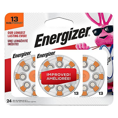 Energizer EZ Turn & Lock Hearing Aid Battery - Zinc Air - 24 Pack