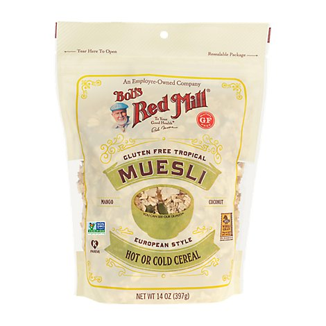 Bobs Red Mill Cereal Hot or Cold Gluten Free Tropical Muesli European Style - 14 Oz