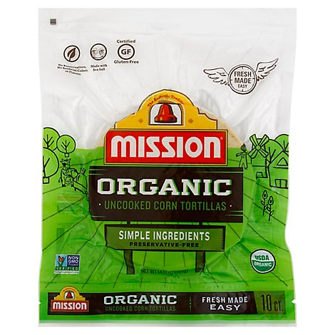 Mission Uncooked Organic Corn Tortillas - 10 Count