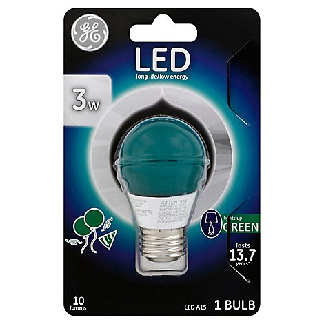 Gen Elec 3w Led Bulb Green - Each