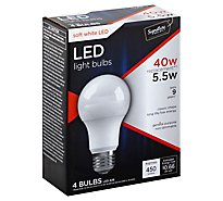 Signature SELECT Light Bulb LED Soft White 5.5W A19 450 Lumens - 4 Count