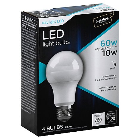 Signature SELECT Light Bulb LED Daylight 10W A19 760 Lumens - 4 Count