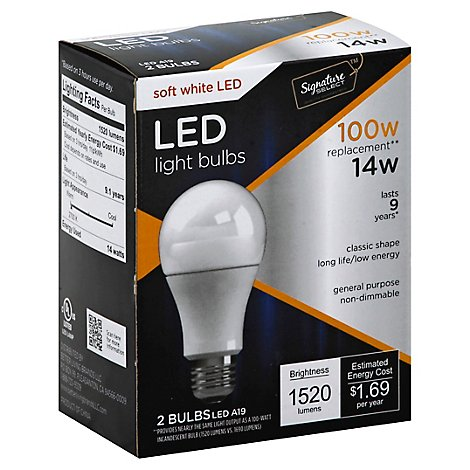 Signature SELECT Light Bulb LED Soft White 14W A19 - 2 Count