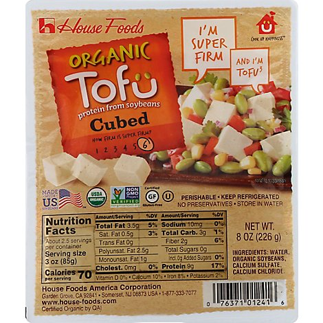 House Foods Tofu Super Firm Cubed Organic - 8 Oz