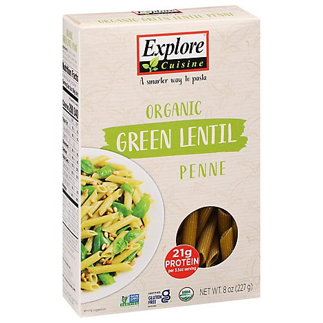 Explore Cuisine Pulse Pasta Organic Penne Green Lentil Box - 8 Oz