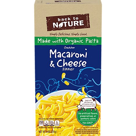 back to NATURE Macaroni & Cheese Dinner Cheddar Box - 6 Oz