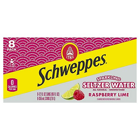 Schweppes Water Beverage Sparkling Raspberry Lime 8 Count - 96 Fl. Oz.