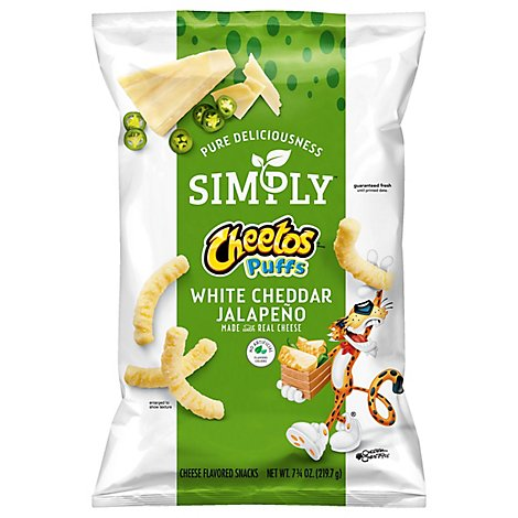 Simply Cheetos Puffs Cheese Flavored Snacks White Cheddar Jalapeno - 10.5 Oz