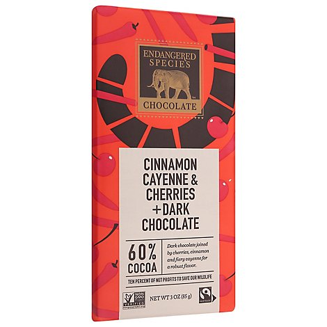 Endangered Species Dark Chocolate Natural 60% Cocoa With Cinnamon Cayenne & Cherries - 3 Oz