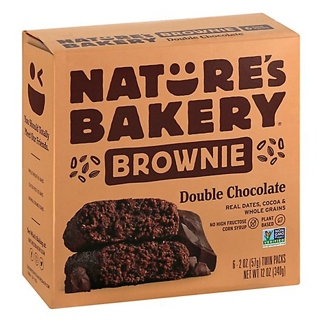 Natures Bakery Brownie Double Chocolate Chocolate - 6-2 Oz