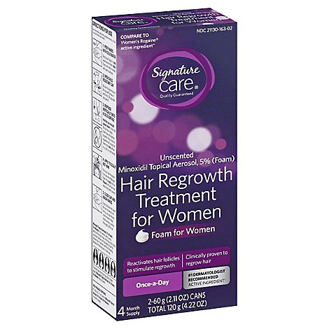 Signature Care Hair Regrowth Treatment For Women Foam Unscented - 2-2.11 Oz