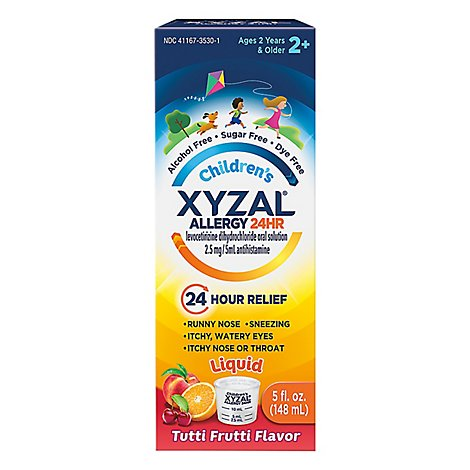 XYZAL Allergy Antihistamine Tablets 24 Hr Childrens 2.5 mg Oral Solution Tutti Frutti - 5 Oz