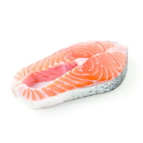 Seafood Service Counter Fish Salmon Atlantic Steak Color Added Farmed Fresh - 1.00 LB