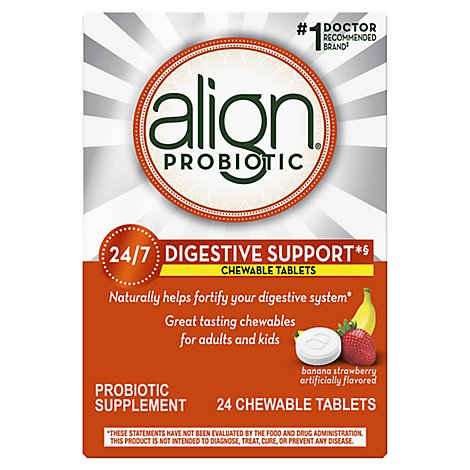 Align Probiotic Supplement Chewable Tablets Digestive Support Banana Strawberry - 24 Count