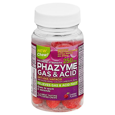 Phazyme Gas & Acid Anti-Gas Maximum Strength Coated Chews Cherry Flavor - 24 Count