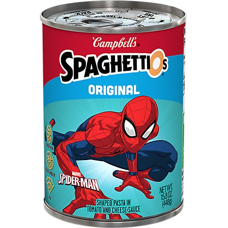 Campbells SpaghettiOs Pasta in Tomato and Cheese Sauce Shaped Marvel Spider-Man - 15.8 Oz
