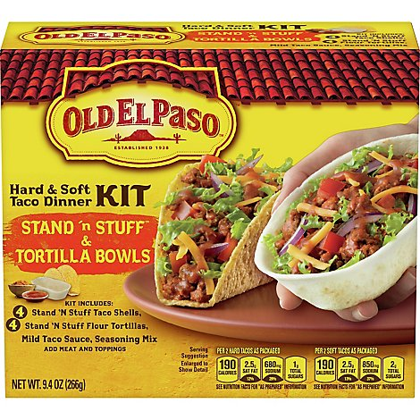 Old El Paso Taco Dinner Kit Hard & Soft Stand N Stuff & Taco Boats Box - 9.4 Oz