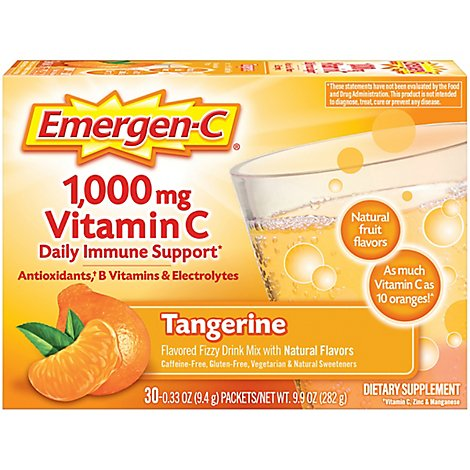 Emergen-C Tangerine Dietary Supplement Fizzy Drink Mix with 1000mg Vitamin C - 30-0.33 Oz.