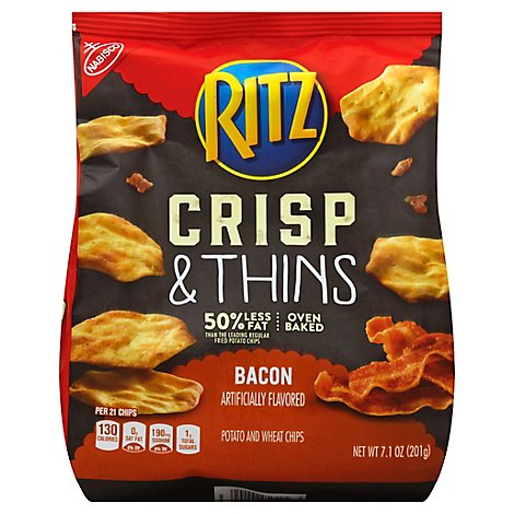 RITZ Potato & Wheat Chips Crisp & Thins Oven Baked Not Fried Bacon - 7.1 Oz