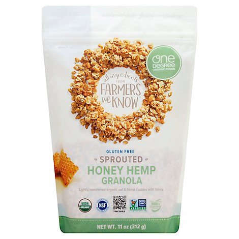 One Degree Organic Foods Granola Sprouted Oat Honey Hemp - 11 Oz