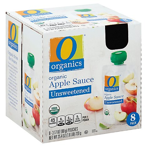 O Organics Organic Apple Sauce Unsweetened Pouches - 8-3.17 Oz