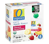 O Organics Organic Apple Sauce Banana Strawberry Pouches - 4-3.17 Oz