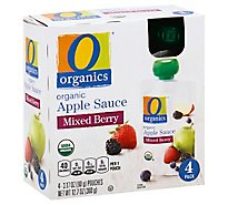O Organics Organic Apple Sauce Mixed Berry Pouches - 4-3.17 Oz