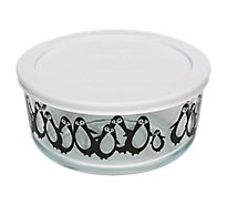 Pyrex 4c Black Penguins W White Plastic Cover - Each