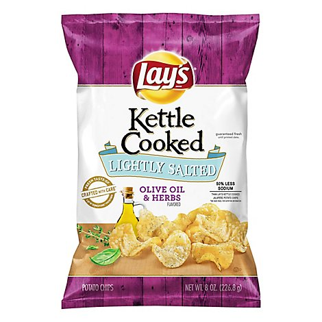 Lays Potato Chips Kettle Cooked Lightly Salted Olive Oil & Herbs - 8 Oz