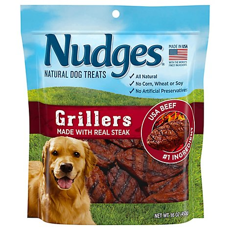 Nudges Natural Dog Treats Grillers Made With Real Steak - 16 Oz