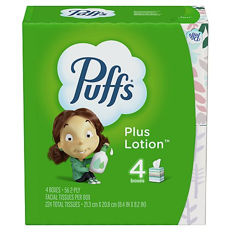 Puffs Plus Lotion Facial Tissue 2 Ply - 4-56 Count
