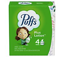 Puffs Facial Tissue Plus Lotion 2-Ply White Box - 4-56 Count