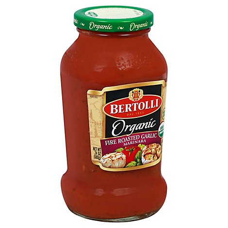 BERTOLLI Pasta Sauce Organic Fire Roasted Garlic Marinara Jar - 24 Oz