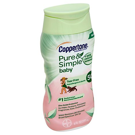 Coppertone Sunscreen Lotion Water Babies Pure & Simple SPF 50 - 6 Oz